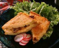 Varm sandwich med ost og sopp -