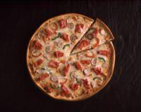 Pizza med skinke og sopp -