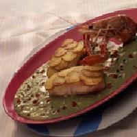 Torsk med potetlokk og basilikumsaus -