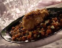 Kokospanert breiflabb med grønnsakragu -