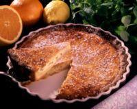 Mørdeigsterte med appelsinkrem -
