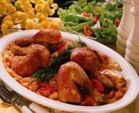 Ovnsstekte kyllinglår med løk og tomat -