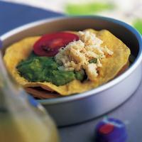 Grillet tortilla med krabbe -