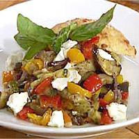 Ovnsbakte grønnsaker med chèvre -