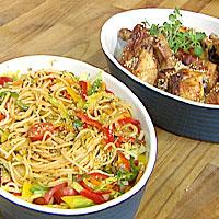 Spaghetti sweet chili med stekt kylling -