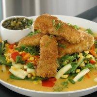Fiskepinner med amerikansk grønnsakblanding -