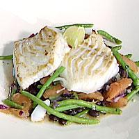 Grillet torsk med lun bønnesalat -