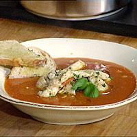 Tomat- og bønnesuppe med sesamkylling -