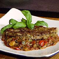 Sprø lammekoteletter med ratatouille -