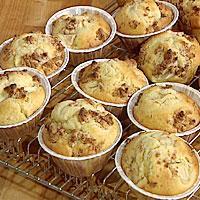 Muffins med mandelmasse, lime og epler -