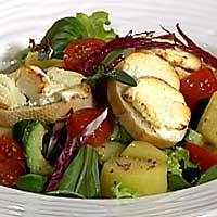 Vårlettsalat med sennepsvinaigrette og toast med gratinert hvit geitost -