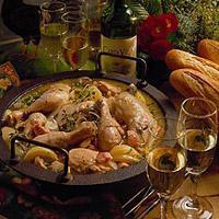 Coq au vin med hvitvin -