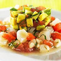 Uer-ceviche med avokado og koriandersalsa -