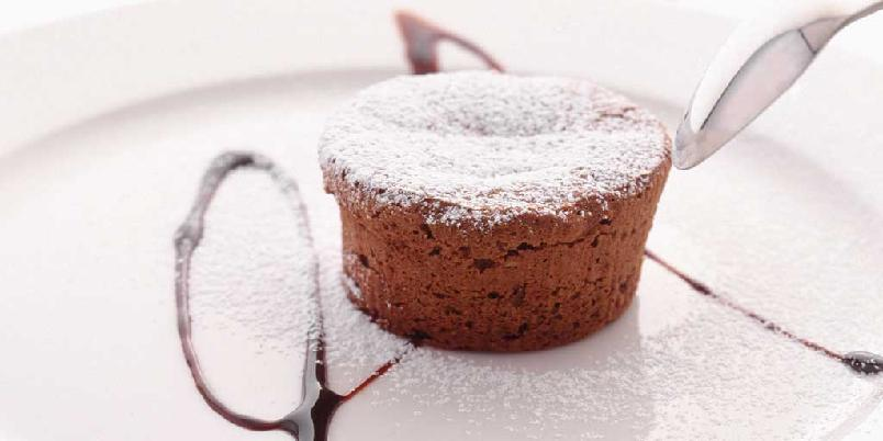 Fylt varm sjokoladekake -