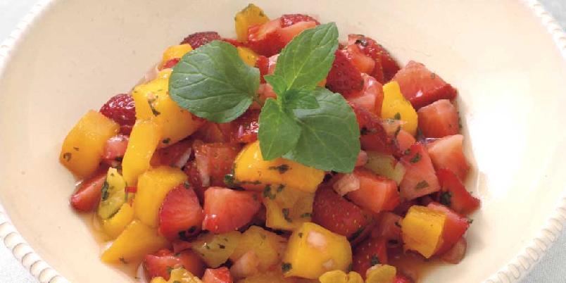 Jordbær- og mangosalsa -