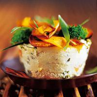 Timbaler på brokkoli og søtpotet -