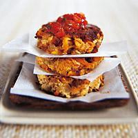 Linsekaker med tomatsaus -
