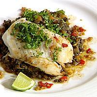 Stekt torskefilet på grønnlinseragu med soyasjy -
