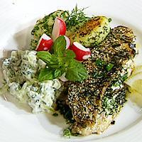 Stekt makrell med dill og gressløk, kremet agurksalat -