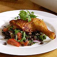 Honning- og sitronkylling med bønnesalat -