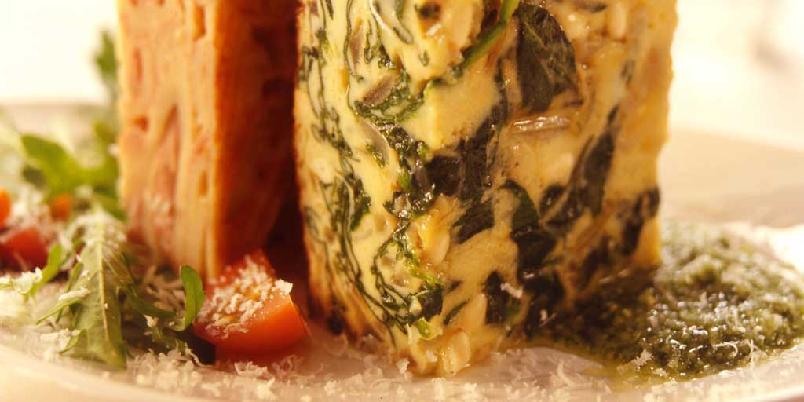 Frittata med spinat og parmesan -