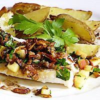 Stekt uer servert med eplebacon og ingefær- og soyasmør -