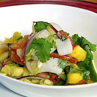 Skalldyrsalat med chili og mango -