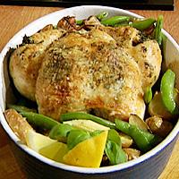 Hvitløk- og urtefylt vårkylling med aioli -