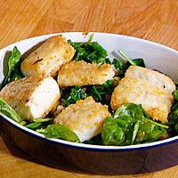 Klippfisk med spinat og manchego -