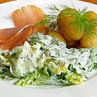 Ferskpotet og salat med rømmedressing -