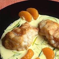 Sprøstekt breiflabb med mandarinsaus -