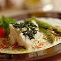 Skrei med pesto og grønn asparges -