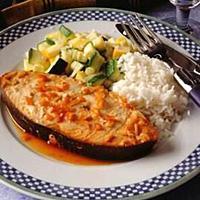 Kveite stekt på polynesisk vis -