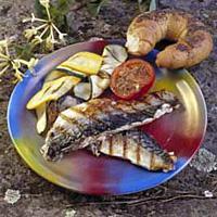 Makrellfilet med squash og tomat -