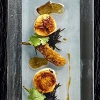 Stekte kamskjell med misoglaserte auberginer og syltet hijiki -