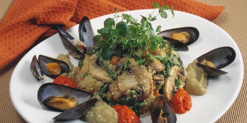 Couscous med roulli og auberginerøre -