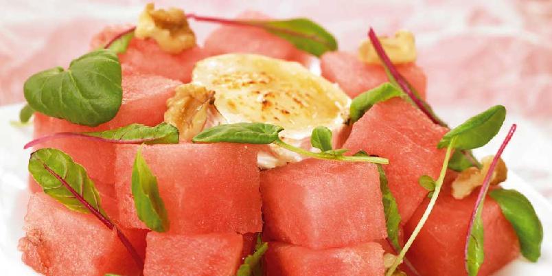 Vannmelon med grillet chèvre -