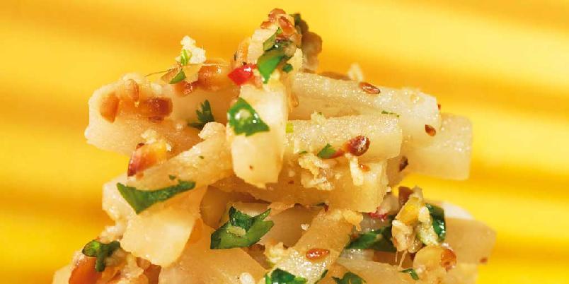 Syltet hvitreddik med koriander og cashewnøtter -