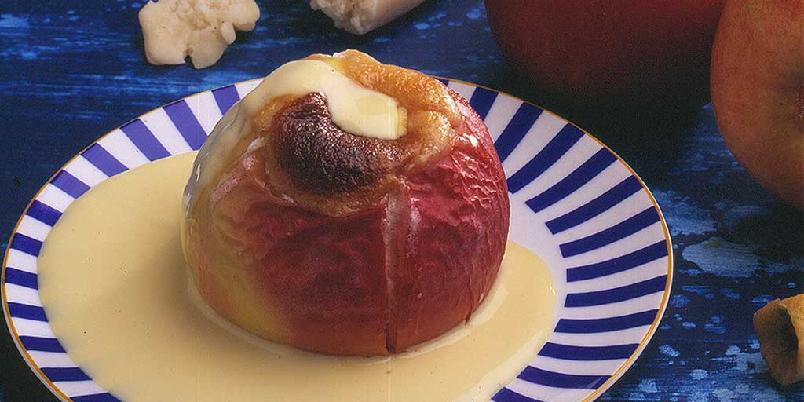 Stekte epler med marsipan -