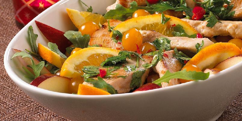 Appelsin- og kyllingsalat -