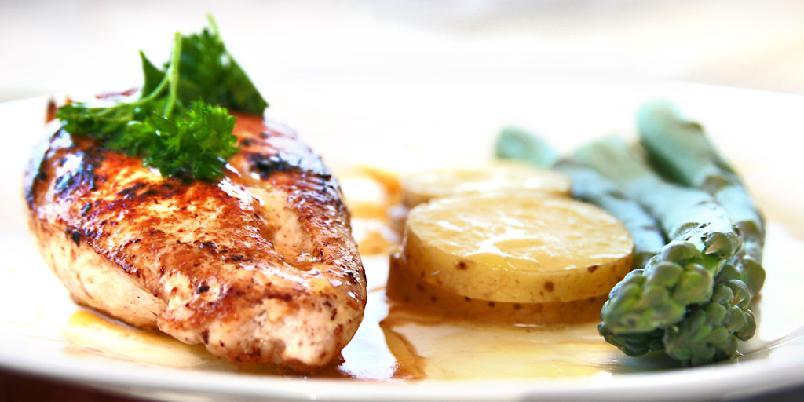 Kyllingbryst med asparges - Dette er en vårlig rett med nypoteter og asparges. Pass på at du ikke koker aspargessen for mye.