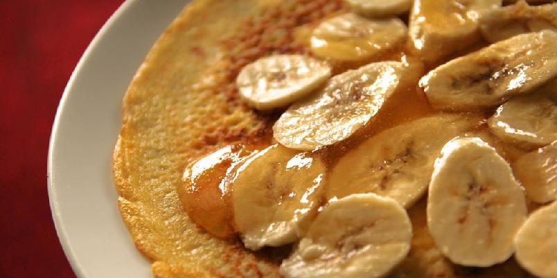 Pannekaker med bananer - Disse pannekakene er til dessert.