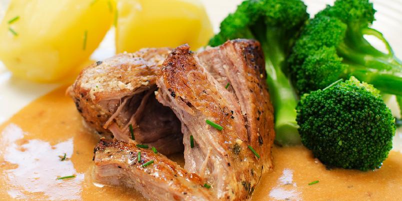 Melkekokt svinenakke med brokkoli -