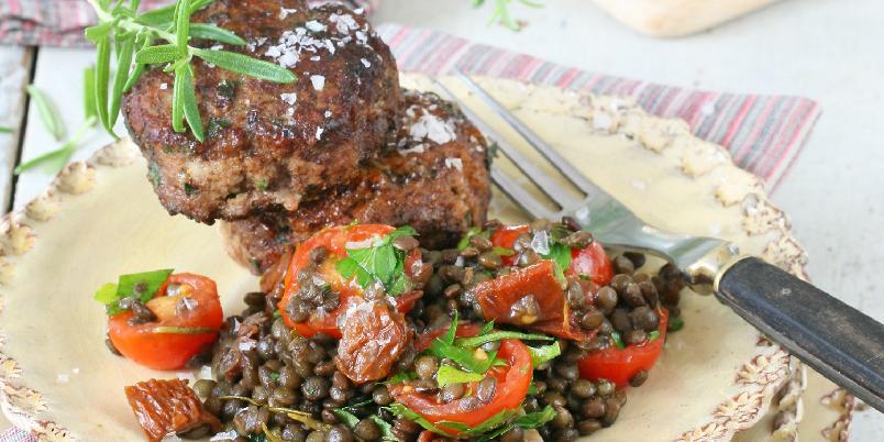 Italienske kjøttkaker med linsesalat -