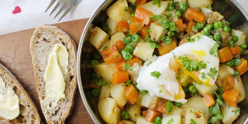 Pytt i panne med posjert egg - Dette er intet mindre enn den perfekte restematen! Og så godt som det er!