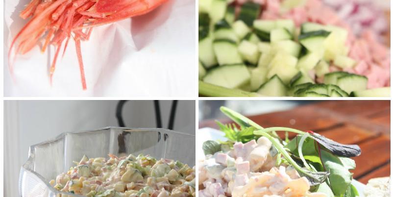 Pastasalat med reker og skinke - Frisk og mettende sommersalat