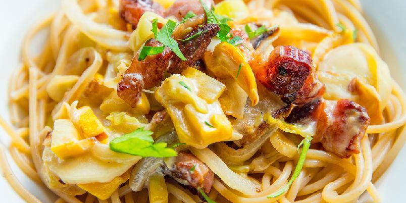 Pasta med stekt kjøtt -