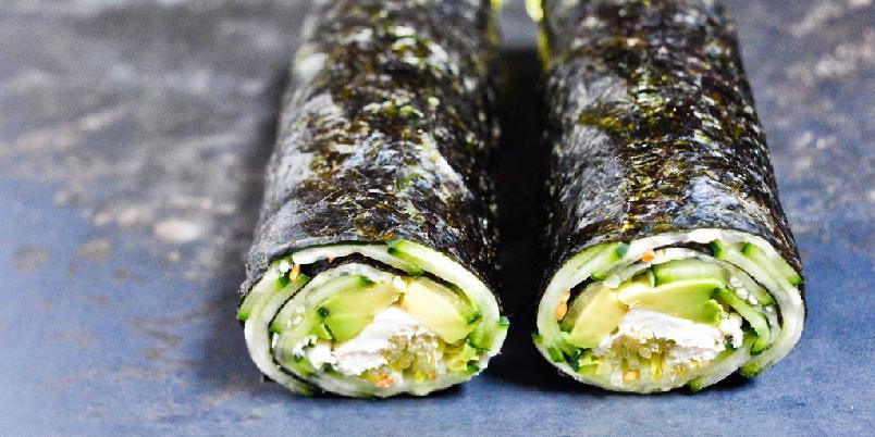Raske agurk- og avocado nori-ruller -
