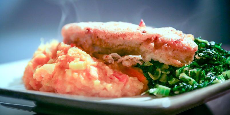 Panert breiflabb med søtpotetstappe og smørdampet spinat -