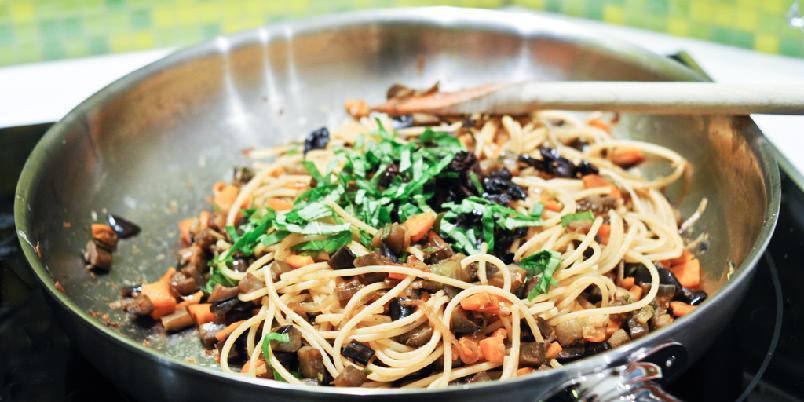 Spaghetti og aubergine -